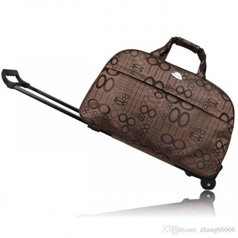 Marka Tasarımcısı Su Geçirmez Bagaj Çantası Kalın Stil Haddeleme Bavul Arabası Bayanlar Tekerlekler Ile Seyahat Çantaları Seyahat Çantaları