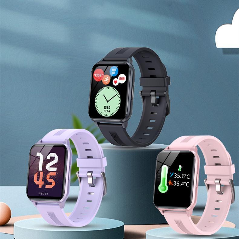 Y79T Smart Watch 1,69 pouce HD Ecran tactile à écran tactile Fitness Tracker Température Récompense cardiaque Récolte cardiaque Pressée IP68 24 modes de sport pour téléphone Android iOS Android