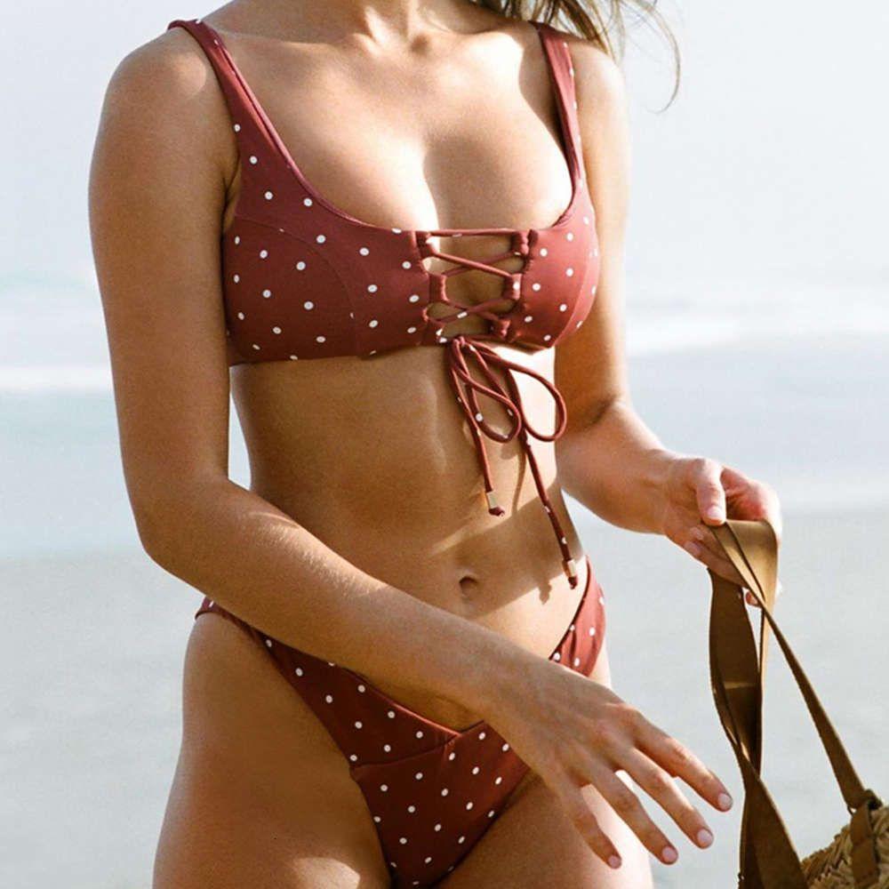 Sexy Polka Dot Bikini Badmode Mujer Batsuit Vendaje Hollow Out Set Brasil Ropa de playa Paquete de baño