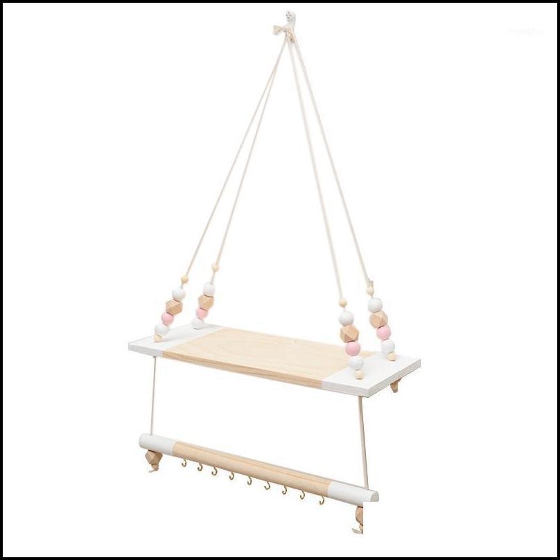 Bath Bathroom Hardware & Garden Nordic Children Room Decorative Storage Rack Double Wooden Bead Tassels Shees Wall Rope Hanging Shelf Home H