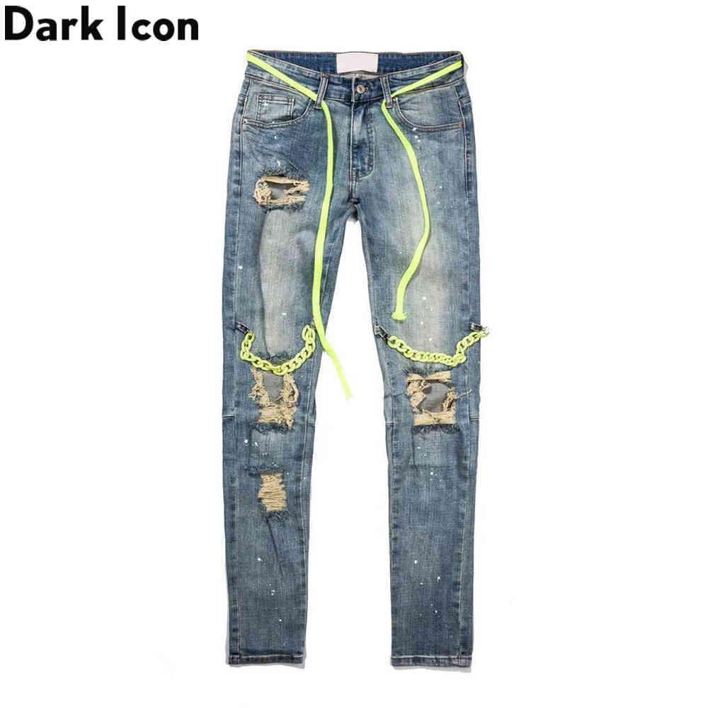 Pantalones vaqueros de High Street Cadena de Icono Oscuro con cadena de cadenas Hombres Spandex Denim Pantalones Pantalones