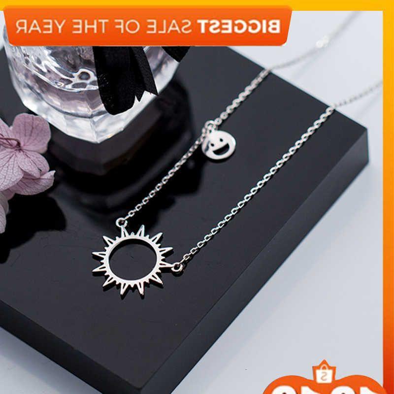 Sol 925 Silver Choker Kolye Charm Minimalismo Glimlach Perchas Vintage Boho Bijoux Femme Collier Cadena Mujeres Joyas