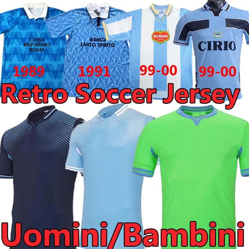 2021 Lazio Retro Soccer Jersey 89 91 99 00 01 14 قميص كرة القدم لويس ألبرتو رائدة سيرجج Vestiti دا كالكيو ماجليا الرجال الاطفال عدة موحدة Uomini