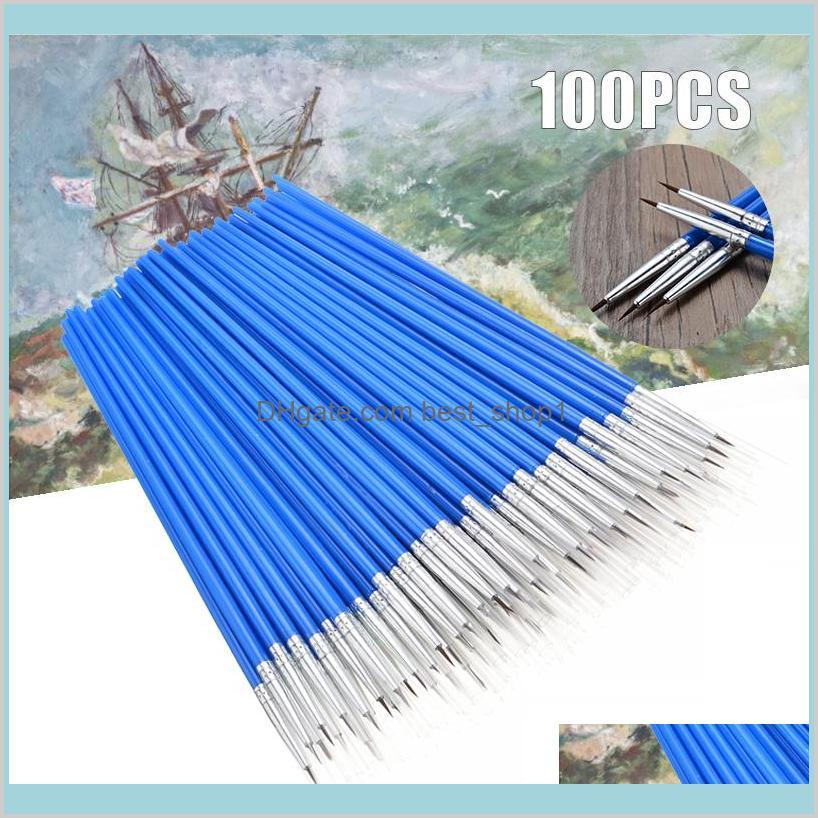 Home Garden Arts Crafts Gifts Supplies 100Pcsset Micro Extra Fine Detail Art Craft Paint Brushes For Traditional Chinese Oil Q1107 Ir5Eg