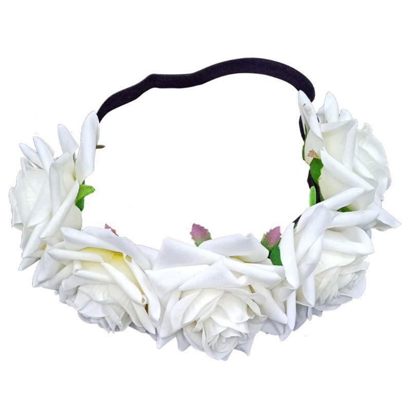 Haarklammern Barrettes Böhmische Frauen Mädchen 9cm Samt Rose Krone Kopfband Poshoot Realistische Kranz Haarband Blume Hochzeit E56A