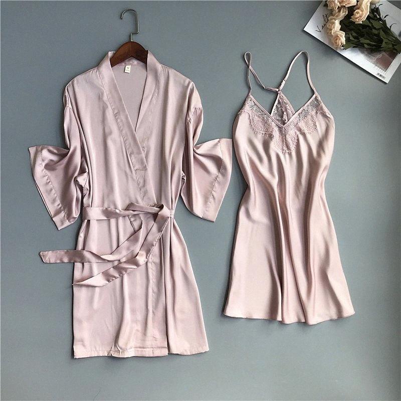 2020 2020 Frühling Sommer Frauen Satin Robe Kleid Sets Sexy Lace Sleep Lounge Sleeveless SIL Nightwear Bademantel + Nacht Kleid Brust Pads S9sv #
