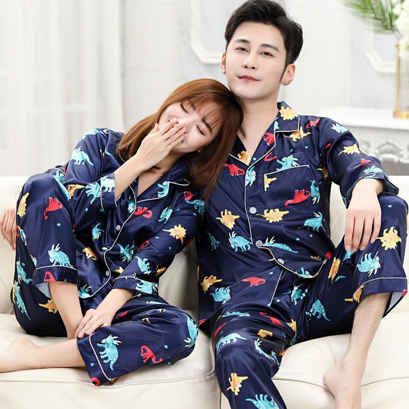 Пара спящая одежда Silk Satin Pajamas набор с длинным рукавом брюки костюм женщин мужчин сон 2 шт. Laungewear