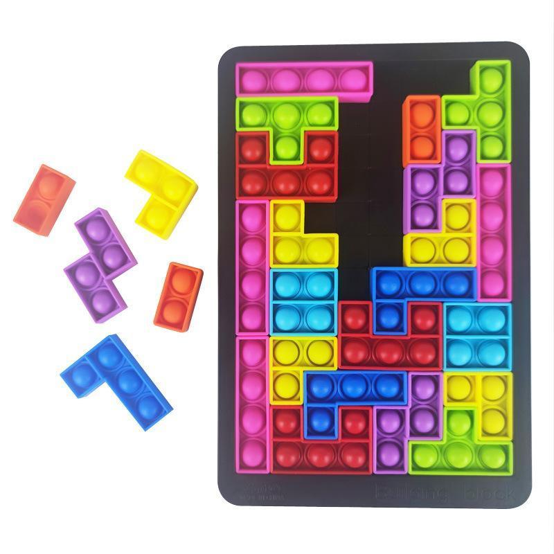 DHL 27pcs Fidget Toys Tetris Jigsaw 퍼즐 압축 해제 폐쇄 스트레스 방지 스트레스 거품 감각 자폐증 완화