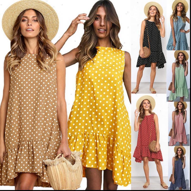 Womens Dress Summer Wave Point Sleeveless Ruffle Women Street Casual Beach Party Dresses O Neck Polka Dot Mini Sundress Vestidos