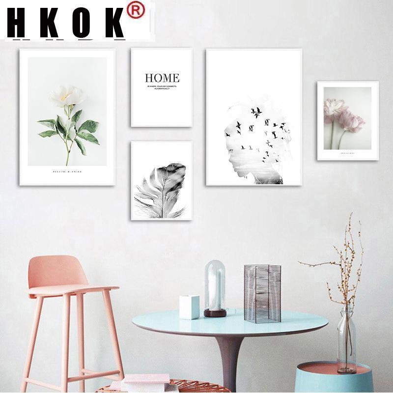 Pinturas HKOK Modular Menina Pena Pena Paisagem Arte Da Parede Flor Quotes Canvas Pintura Nórdica Pôsteres Impressões Impressões Decoração da Sala de Visitas