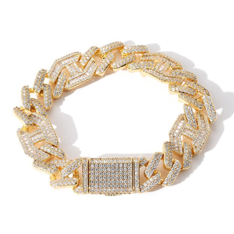 15mm Miami Cuban Link Bracelet Gold Color Iced Out Cubic Zirconia Rock Hip Hop Style Jewelry Jewelry Gall Link, catena