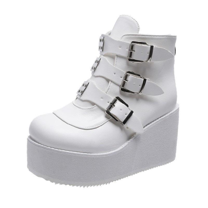 Bottes Haute plateforme Croîchements Chaussures Femmes Ankle Couleurs Varié Couleurs Design De Lace-Up Boucle Boucle Bling Taille 36-43