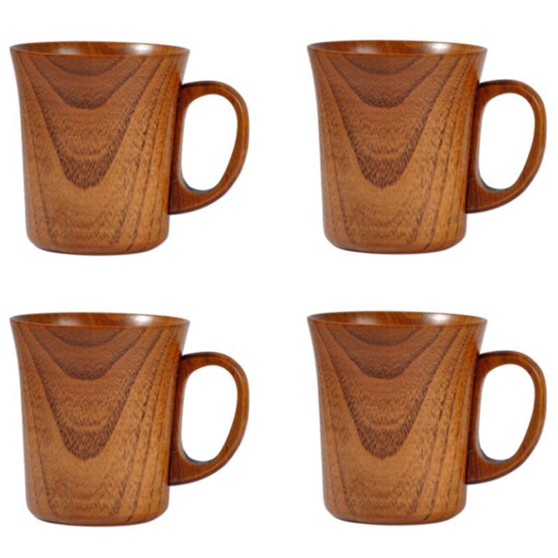 Doğal Hunojen Ahşap Fincan El Yapımı Ahşap Kahve Bira Kupalar Kahvaltı Süt Drinkware Çay Ev Dekor, 4 adet