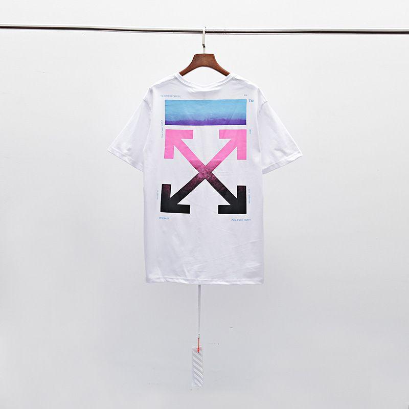 Camiseta para hombres Manga corta fuera de la calle Marca de moda blanca Raistyle degradado Pintura al óleo Arstile Pareja de verano BF estilo algodón 1LPF 69XH