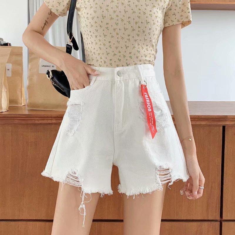 Mme Cowboy Été à la taille élevée de la taille large de la jambe en jean Shorts de la tendance de la cece super et polyvalente des étudiants coréens pour femmes