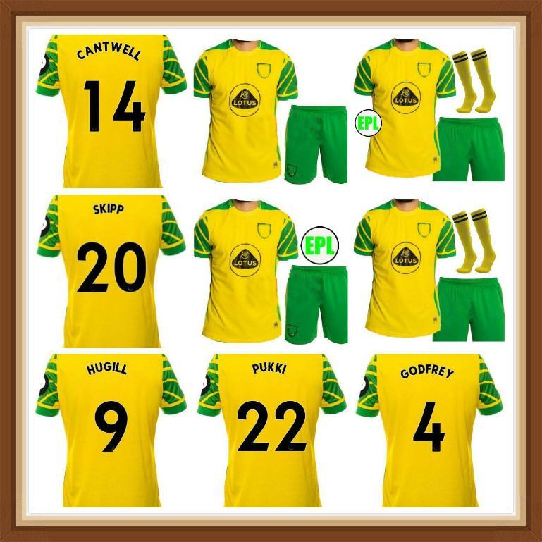 Adulto Kids Kit 2021 2022 Norwich City Hugill Futebol Jerseys Home 21 22 Roberts Pukki Hernandez Buendia Stiepermann Tailândia Camisa de Futebol Skippp Cantwell