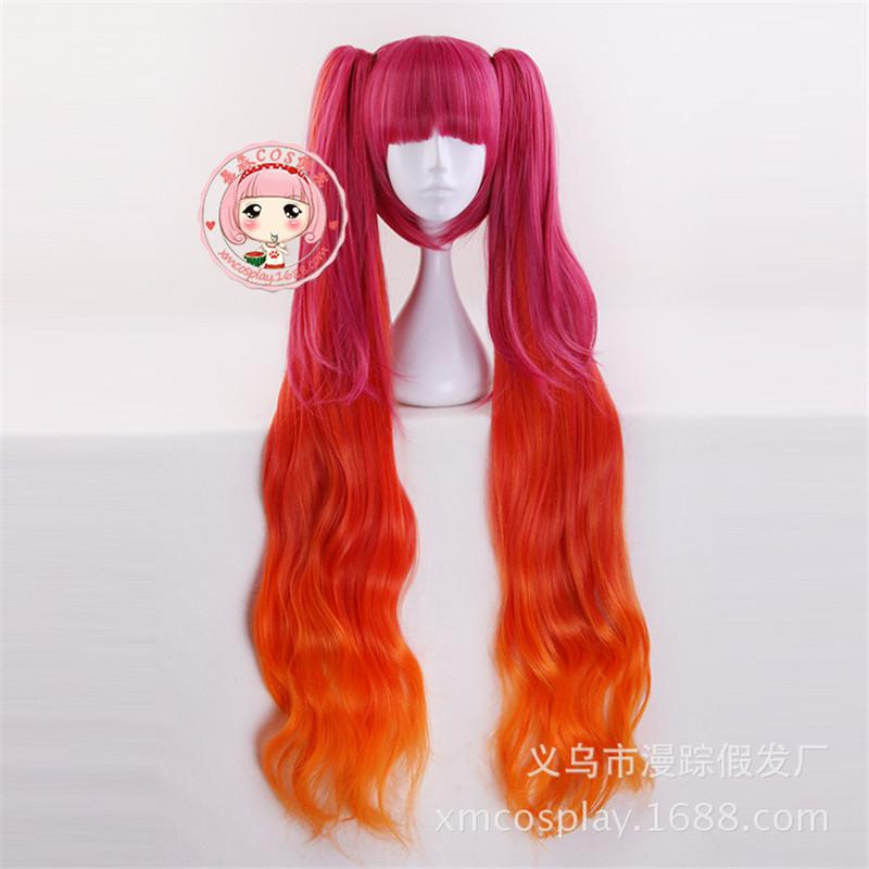 Costume Accessories120cm Game Wig Cosplay Angela Red Orange Wig Long Wavy Cosplay Wigs with Ponytails Halloween Lolita Role Play Hair