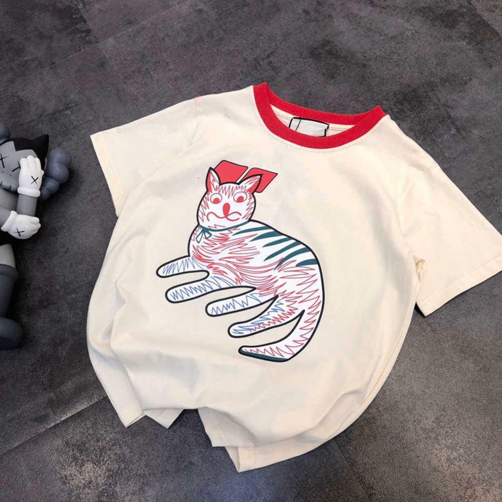 Высокое качество Весна и летний Возраст, снижающий мультфильм Duffy Cat Print Повседневная Свободные круглые шеи с коротким рукавом Футболка