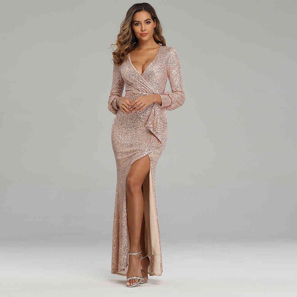 Borgonha vestido de noite manga cheia lantejoulas formal sexy com cote em v baile elegante s para