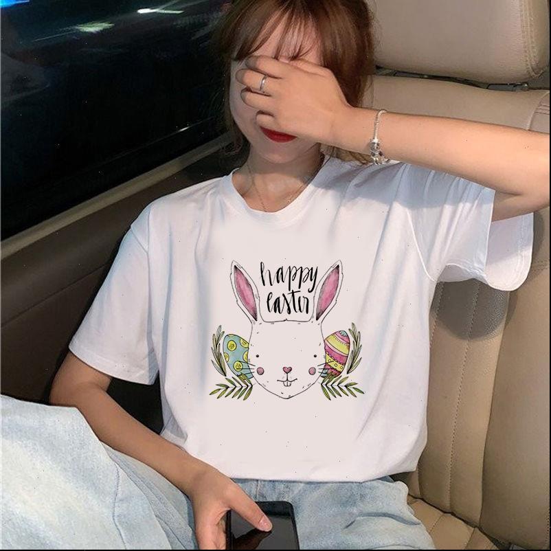 Женская футболка милые кролики футболка с коротким рукавом топы женские женские женские повседневные o шеи рубашки женские графические белые тройники
