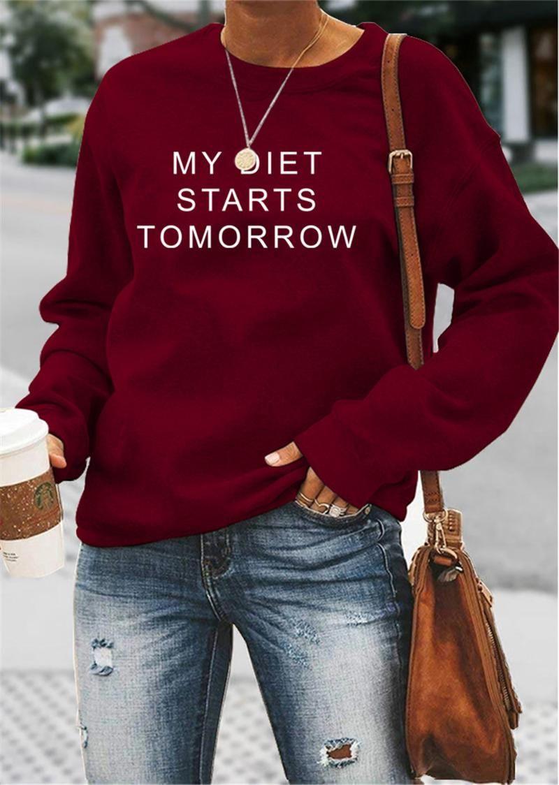 Hoodies das mulheres camisolas Minha dieta começa amanhã Pringt Crewneck Camisola Mulheres Cartas Impressão Jumper Pullover Feminino Feminino 2021 Clo