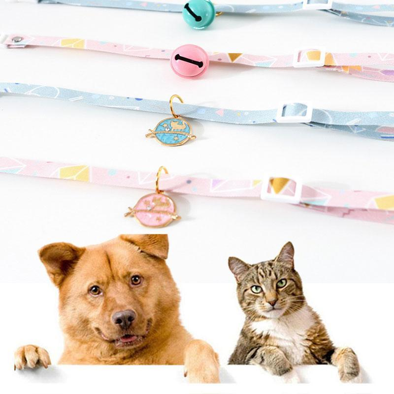 Dog Collars & Leashes Cute Cat Collar With Bell Adjustable Safety Breakaway Kitten Necklace Floral Pattern Puppy Chihuahua Pendant