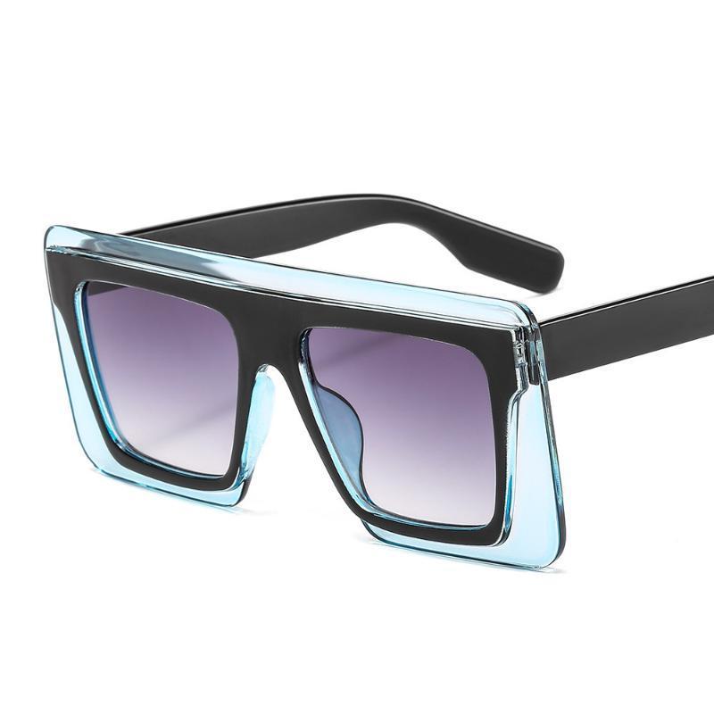 Moda Erkekler ve Kadınlar Göz Kamaştırıcı Renk İki Renkli Bayanlar Güneş Gözlüğü Gelgit Büyük Çerçeve Gözlükler