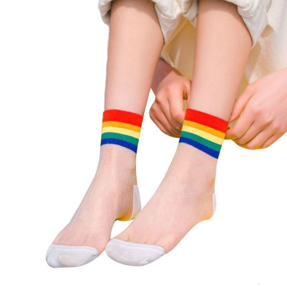 Chaussettes Harajuku Femmes Feuilles de verre Mid-Tube Sos Raiow Stripes Transparentes Hosiery D08E
