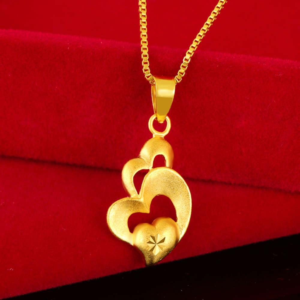 Halsketten Vietnam Shajin Pfirsich Herz Auto Blume Frauen Romc Herz-förmige Anhänger vergoldet Schmuck Halskette