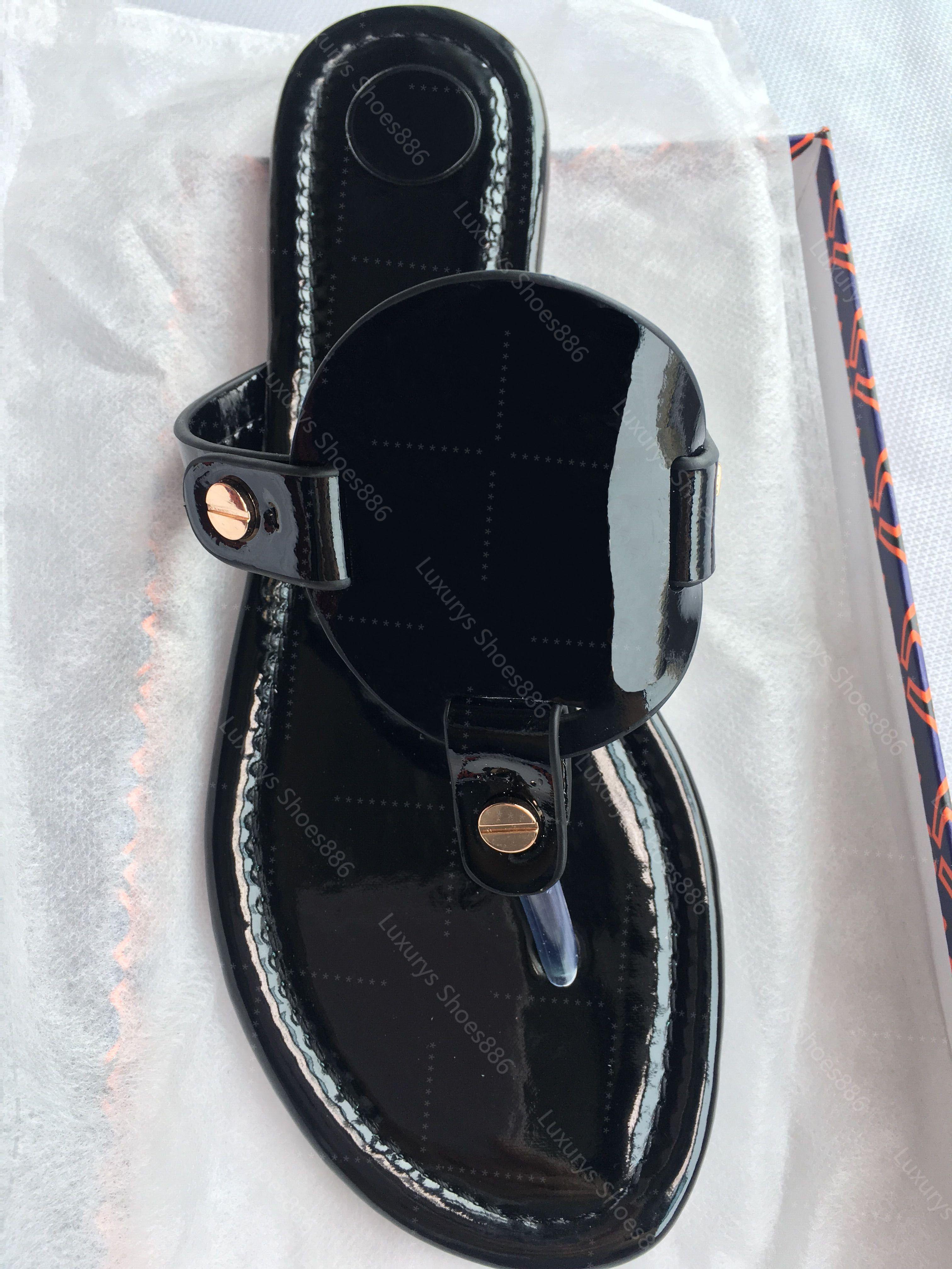 Yüksek Kaliteli kadın Düz Terlik Lüks Tasarımcı Sandalet Deri Marka Kızlar Slayt Sandalet Rahat Çevirme Boyutu 35-43 Kutusu Ile