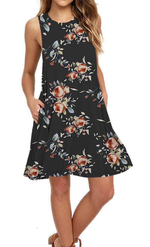 Vestidos Moda de Mujeres en primavera y verano Estilo étnico Impresión Casual A-Line Vestido floral sin mangas NN