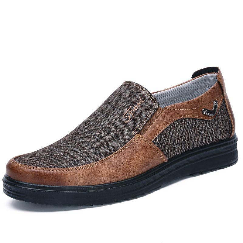 2021 Mode Designer Style d'affaires Chaussures Mens Hommes Brown Brown Loisirs Soft Appartements Soft Homme Robe occasionnelle pour la fête 38-44 Cinq