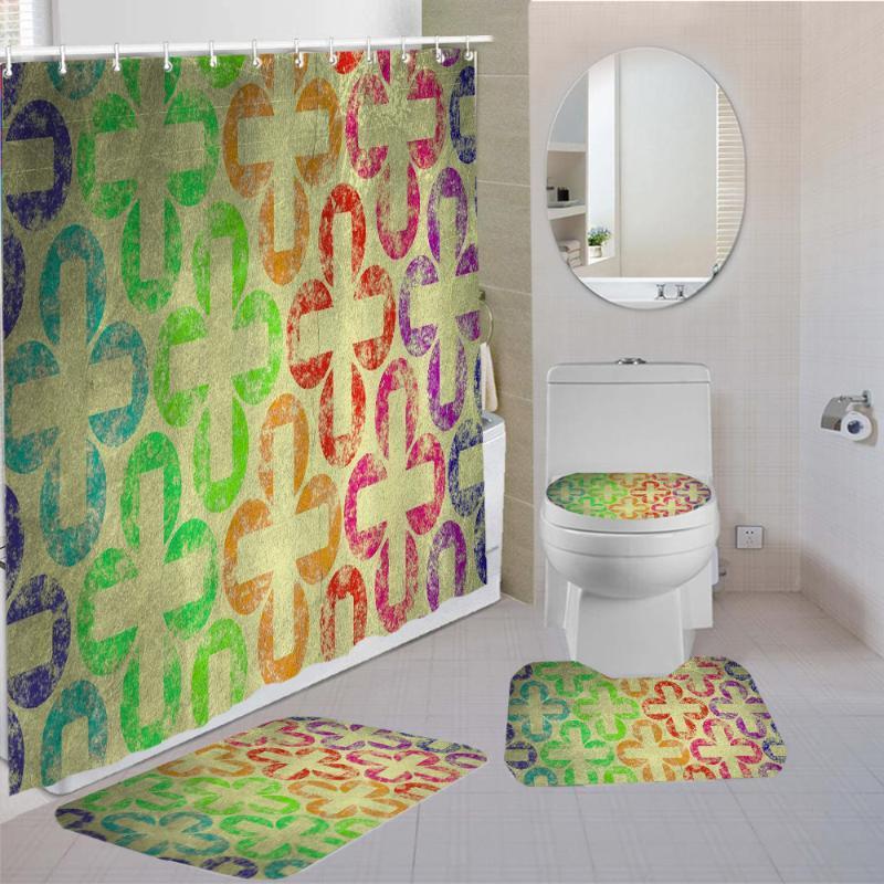 Shower Curtains Bathroom Decor Colorful Geometric Line Printing Waterproof Curtain Set Toilet Cover Non-Slip Mat Pedestal Rug