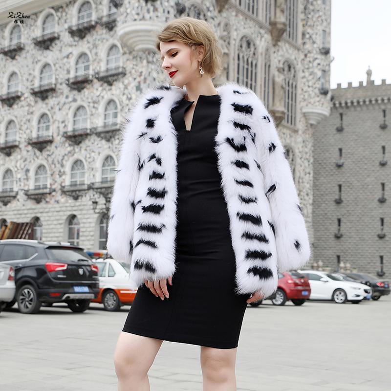 Zizhen Real Fur O-Neck Jacket Luxo Stripeddot Stripeddot Mulheres de Inverno Quente 190729-1 Feminina Feminina