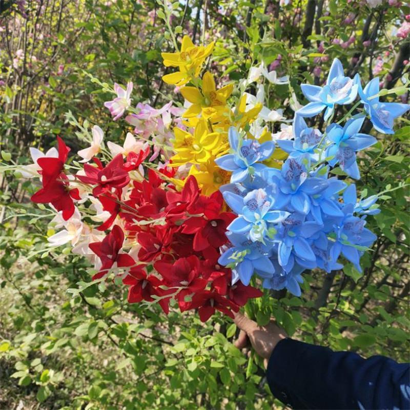 """Декоративные цветы венки 7 шт. Поддельные Cattleya Hybrida (7 стеблей / букет) 26.77 """"Длина симуляции орхидей для свадьбы дома искусственный"""