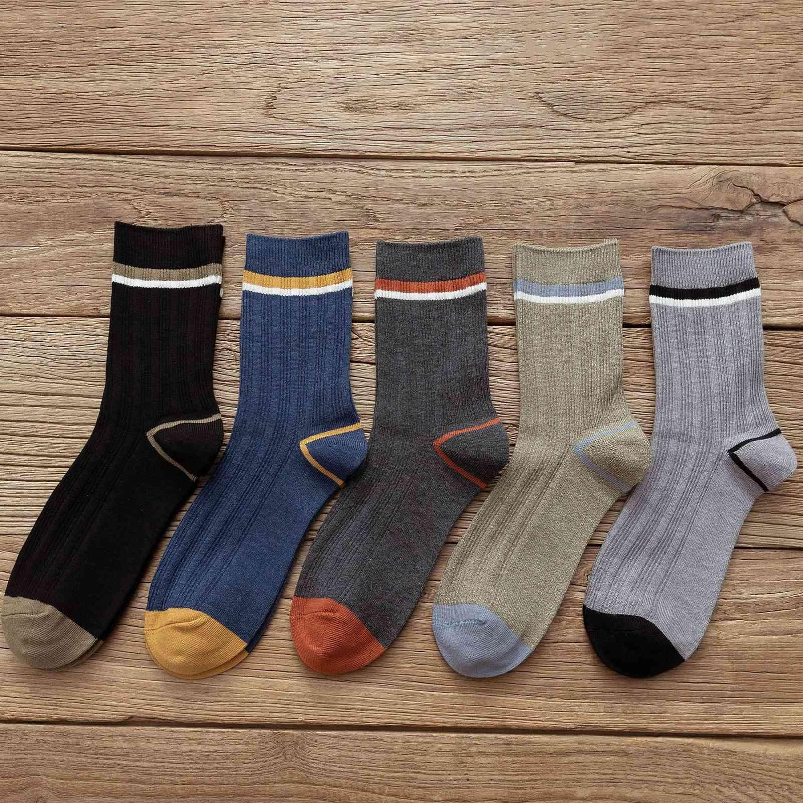 Outono inverno moda masculina business casual meias confortáveis e respiráveis meias vertical bar horizontal