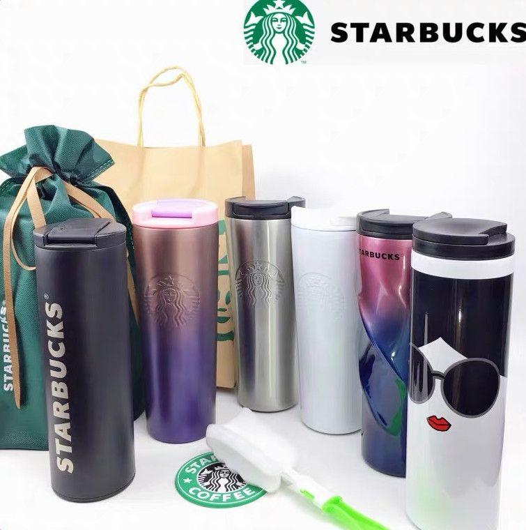En son 16 oz starbucks fincan kupa, paslanmaz çelik yalıtımlı kahve fincanı, 14 spiral degrade rengi stilleri, özel logolar için destek,