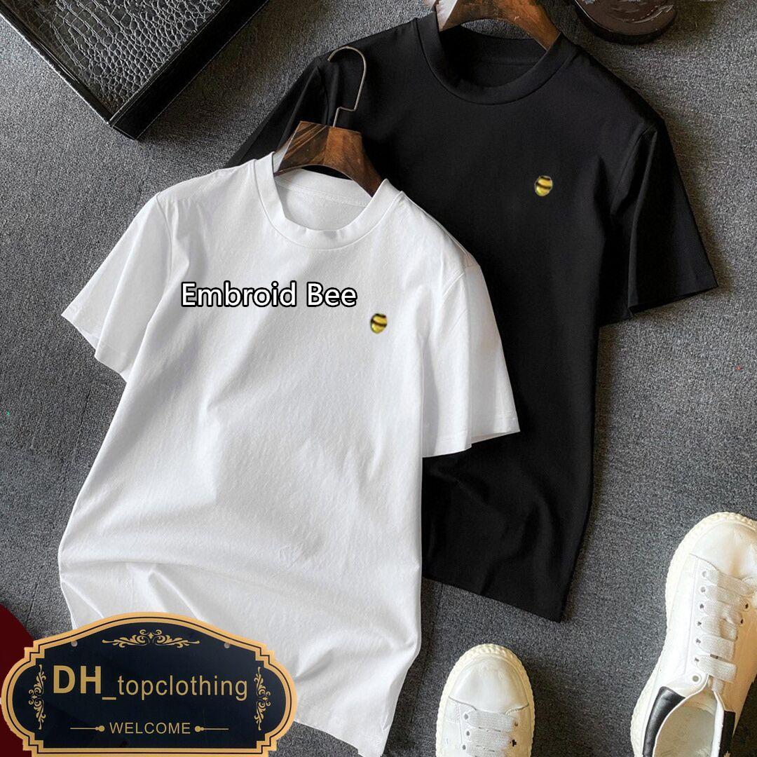 T-shirt de alta quanlity de lujo europa para hombre bordado bordado t shirts 100% algodón transpirable all-matchs camisetas