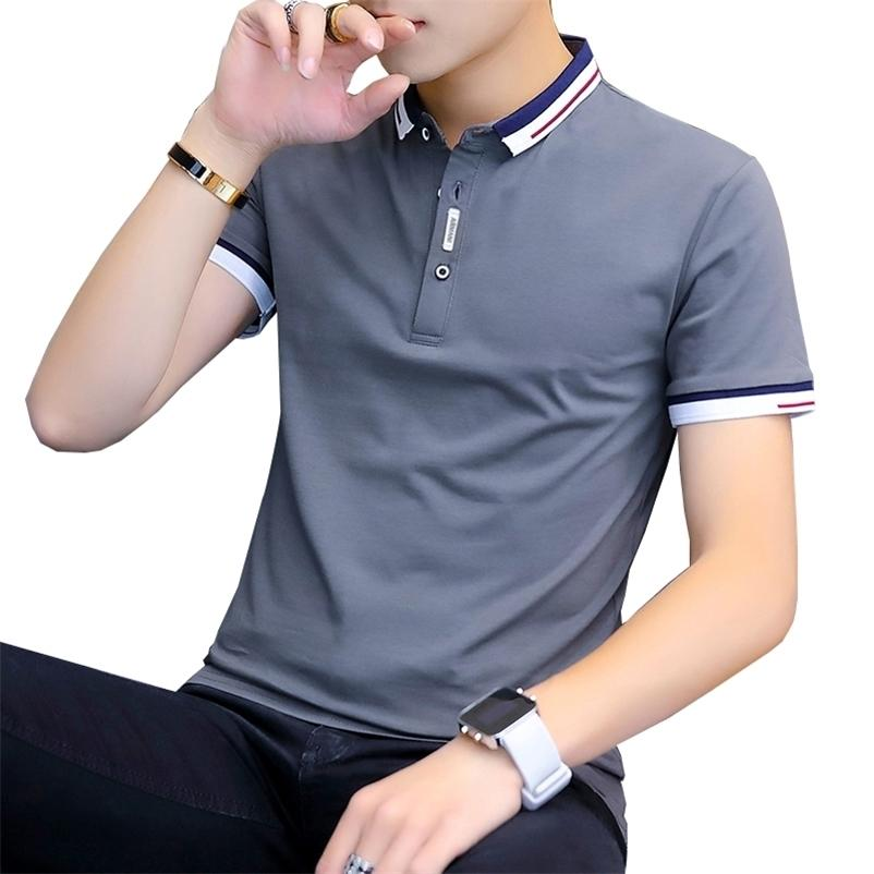 Browon Varış Yaz T-shirt Erkekler Kısa Kollu Slim Fit Tişörtleri Turn-down Yaka Tee Gömlek Homme 210629