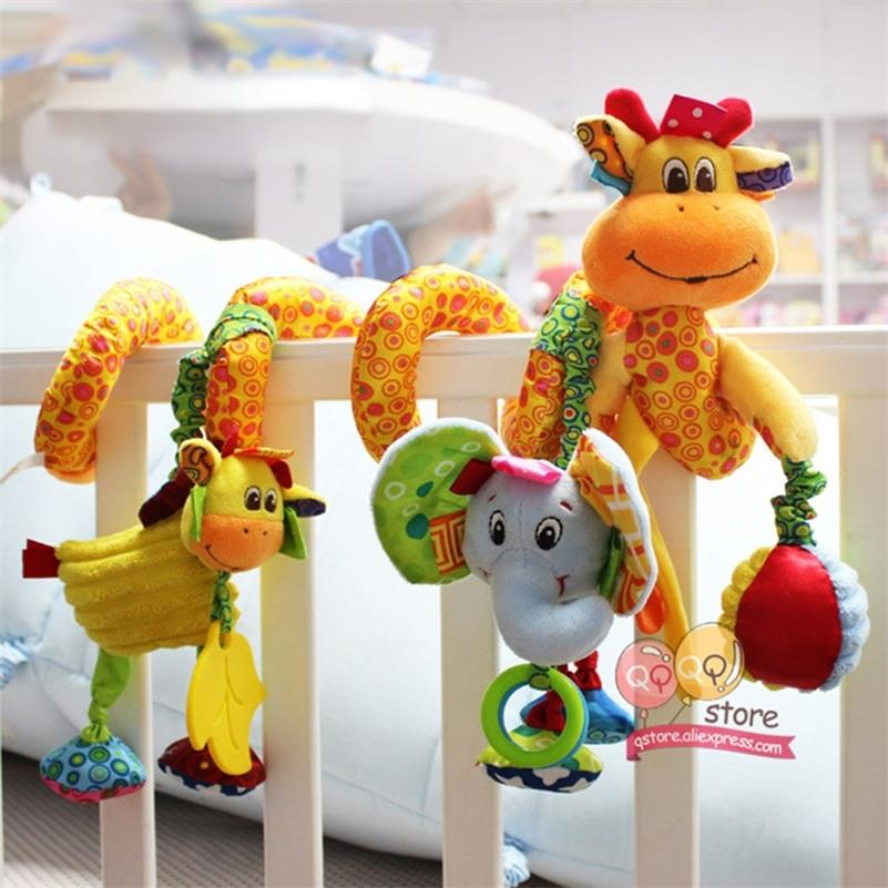 Giocattoli per bambini per bambini 0-12 mesi peluche sonaglio culla a spirale appeso mobile infantile neonato passeggino letto regalo animale felice monkey 210320