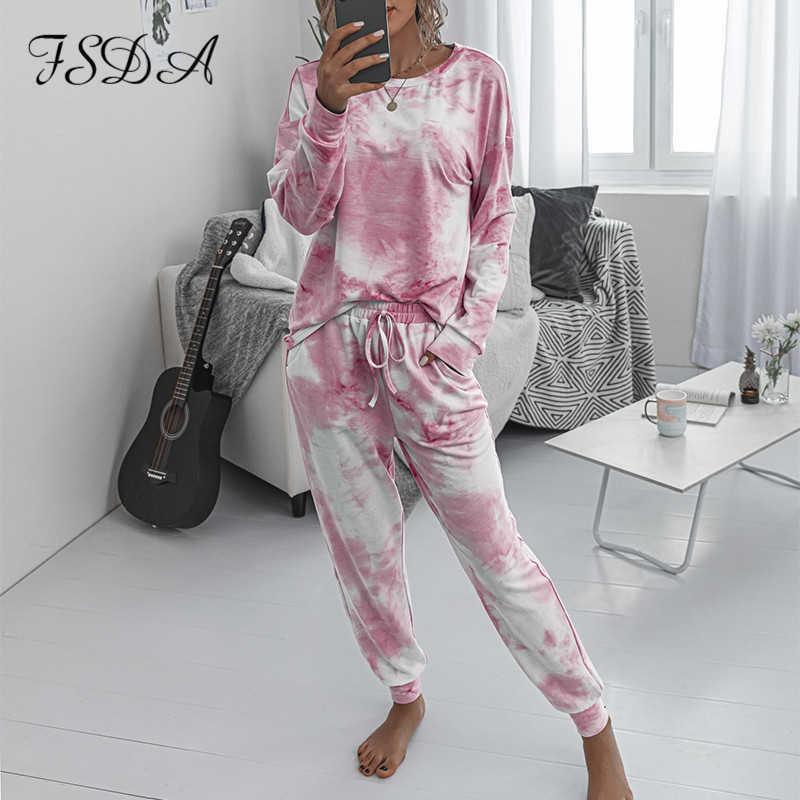FSDA 2020 Женщины Установить галстук-краска с длинным рукавом Верхняя рубашка o Шеи и брюки Cousssuit Два частя Набор вскользь наряда Lounge Wear T200826