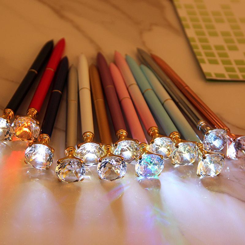 الإبداعية الصمام ضوء كبير الماس المعادن بريق الكريستال القلم حالة قيراط الكرة القرطاسية أكتب أداة