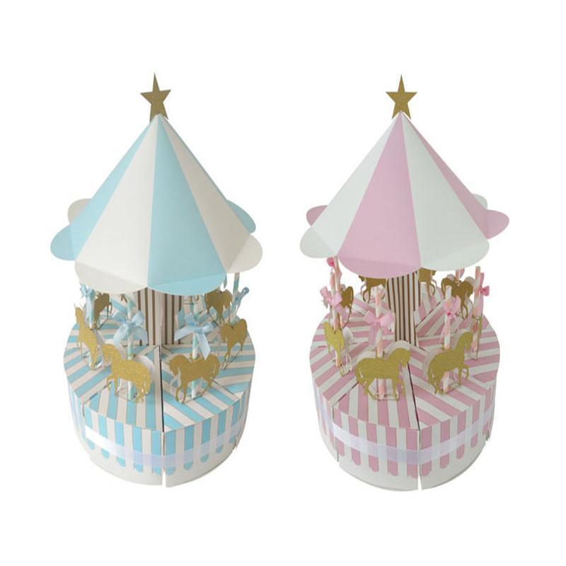 Hediye Wrap Carousel Şeker Kutusu Mutlu Doğum Günü Partisi Süslemeleri Düğün Misafirler Için Şeker Bebek Duş Paketleme Malzemeleri