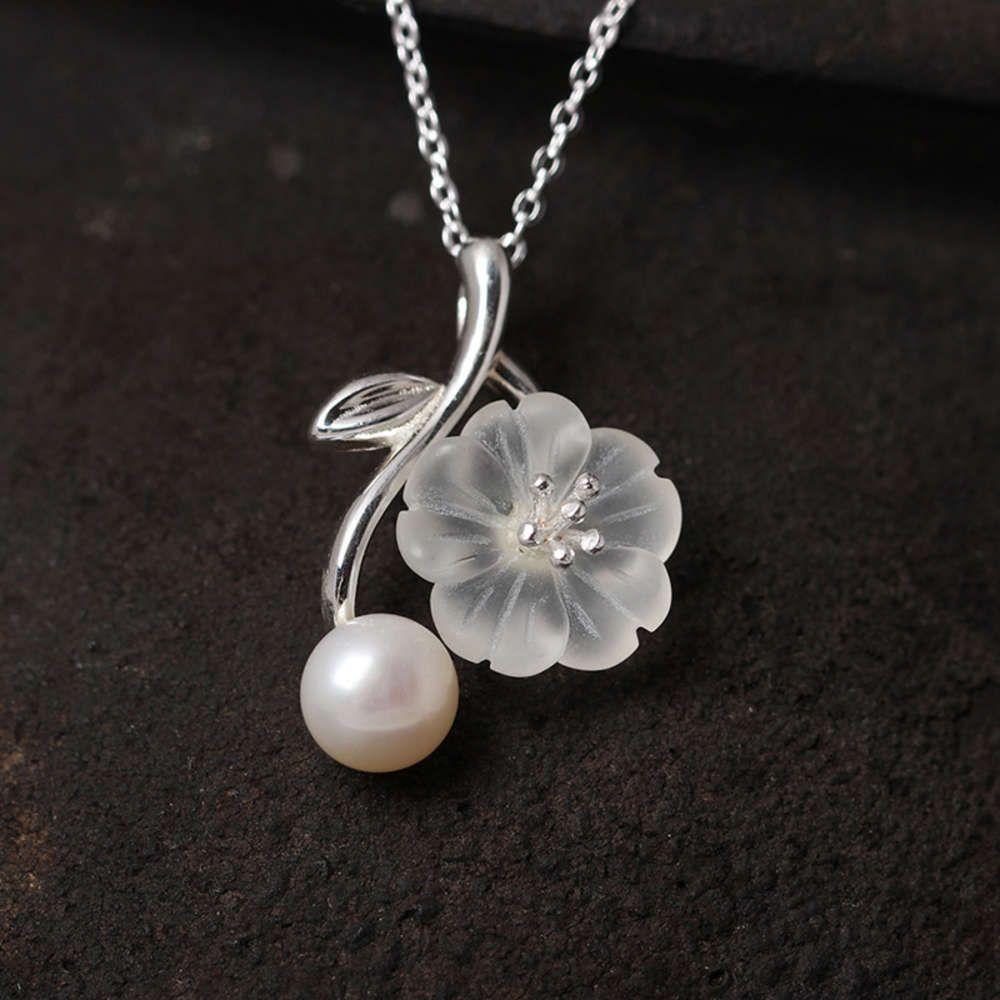 pendantschinese estilo s925 prata pingente de pérola de água doce, personalizado flor de ameixa de cristal, linda colar curta antiga
