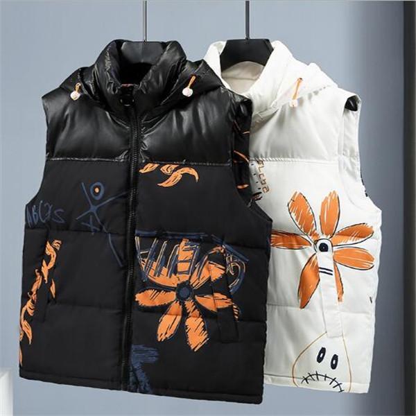Giacca da uomo autunno e inverno Giacca down in cotone gilet caldo stile coreano tendenza esterna usura coppia gilet stampa