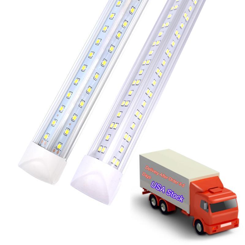 25 pcs, lumières de la boutique à LED de 8 pieds, luminaire d'éclairage de tube de congélateur de portière de 8 pieds, 2 rangées 100W 10000 lm, tobescents fluorescents en V