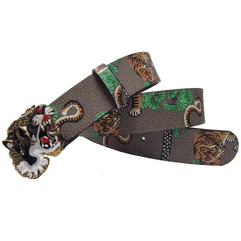 Западный горный хрусталь сплава пряжка тигр печати кожаные модные джинсы причинные брюки мужские пояс