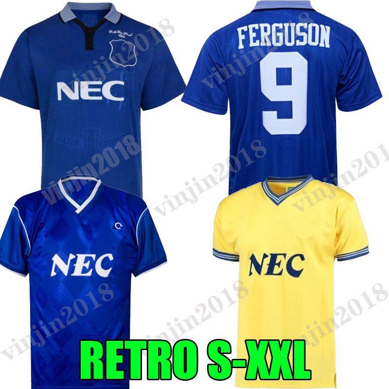 1995 Ferguson EFC الرجعية لكرة القدم جيرسي Kanchelskis ركوب LIMPAR 86 87 88 Hinchcliffe Jackson Stuart Home Horne Football Shirts Final Camisetas de Fútbol