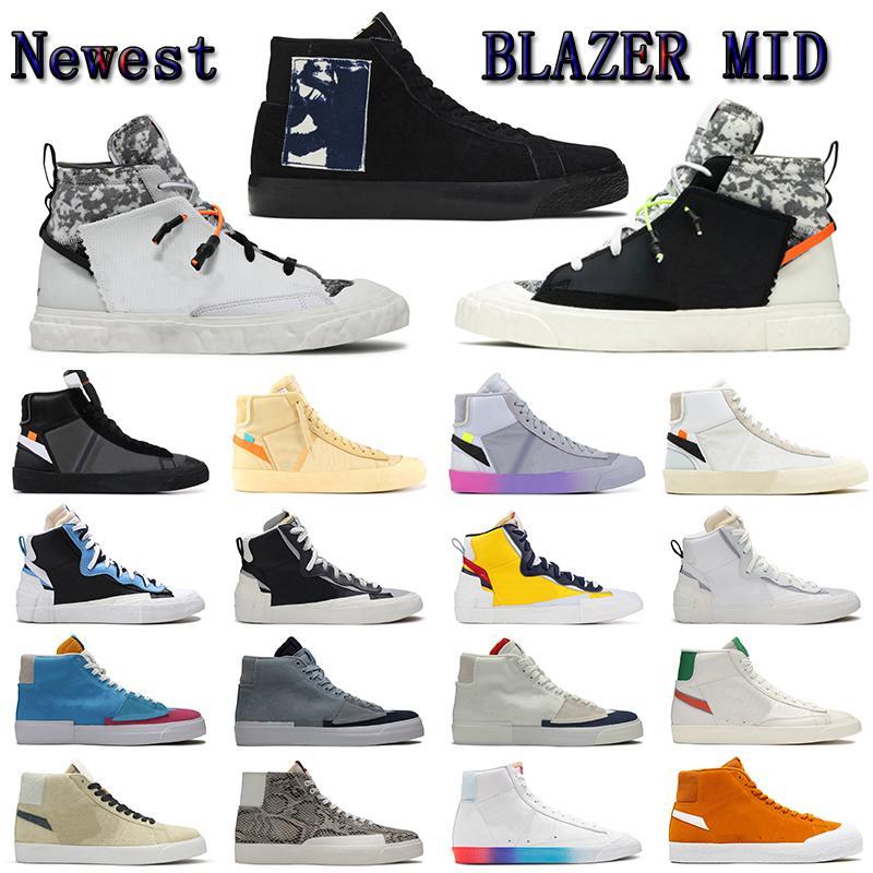 En Kaliteli Blazer MID 77 Vintage Platformu Düz Rahat Ayakkabılar Indigo Flyleather Ruohan Wang Racer Mavi Sonsuz Kumquat Pride Chicago Tasarımcı Sneakers 36-45