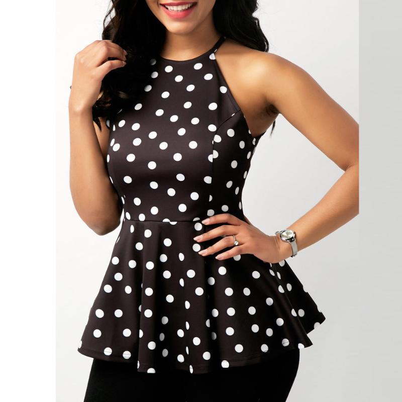 Bayan Rahat Yaz Kolsuz O-Boyun Nokta Baskı Tops Ruffles Şifon Peplum Bluz Blusas Mujer De Moda DFF1235